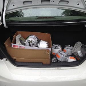 Honda Civic CNG tank in trunk
